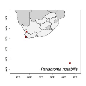 Parisotoma notabilis Map