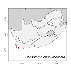 Parisotoma obscurocellata Map